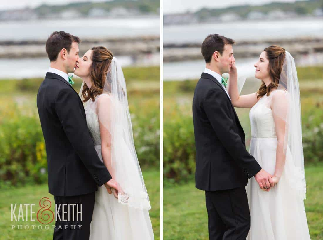 Bride kissing groom, Maine seacoast wedding