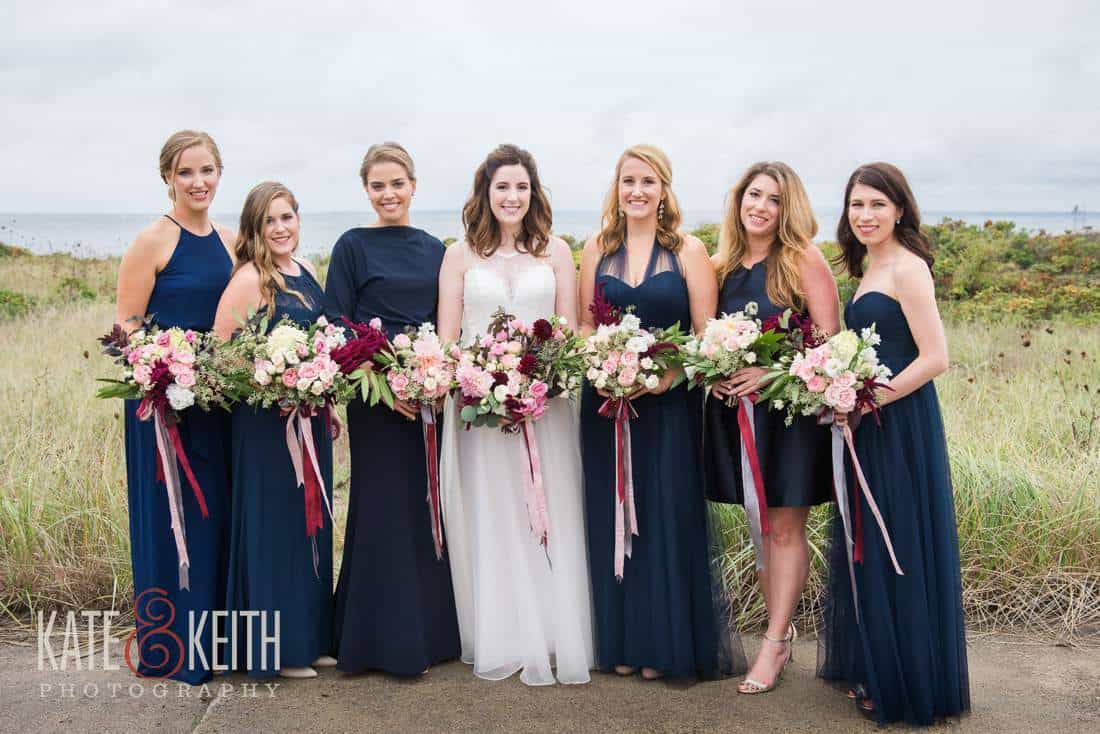 Wedding party on coast in Maine Blue Bridesmaid dresses