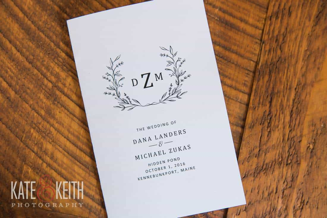 Hidden Pond Maine wedding invitation