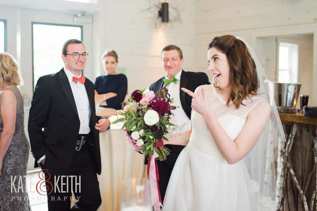 Bride pokes fun