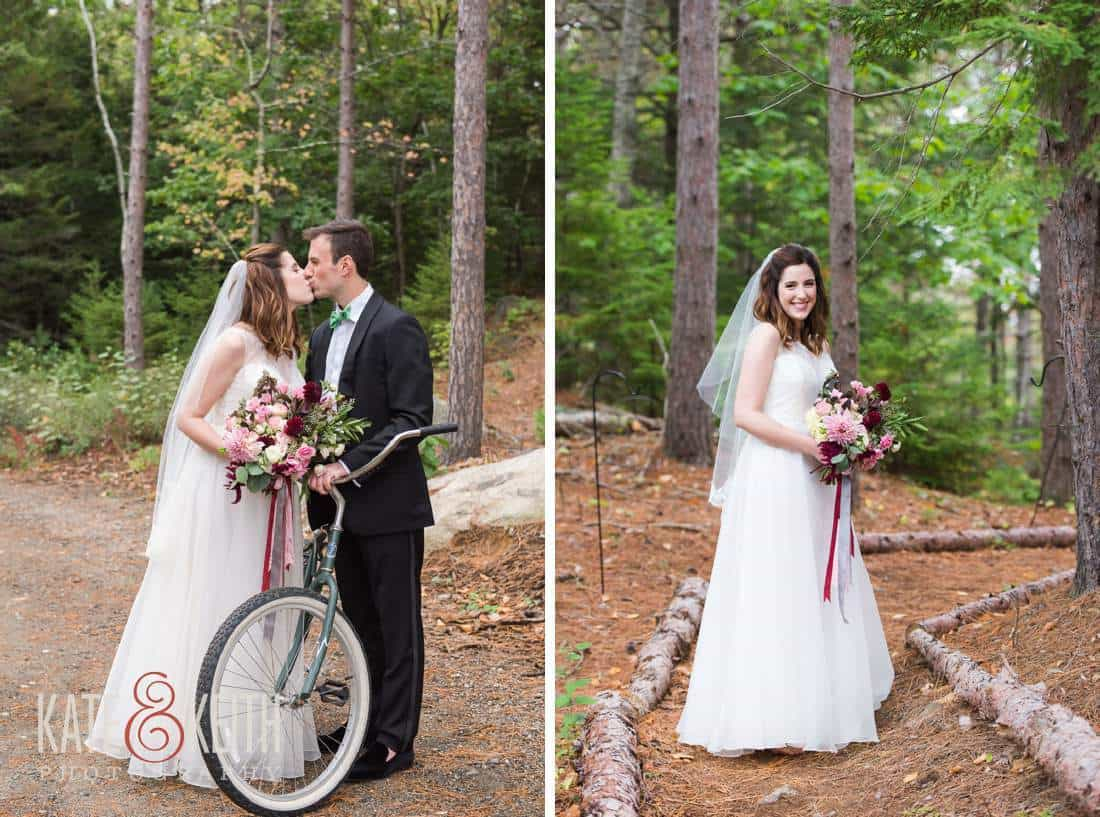 Forest bride and groom with bicycle
