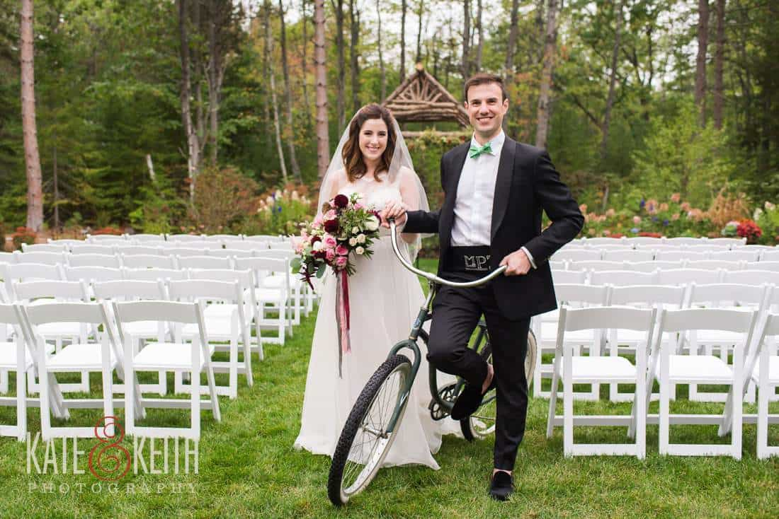 Bicycling bride and groom hidden pond