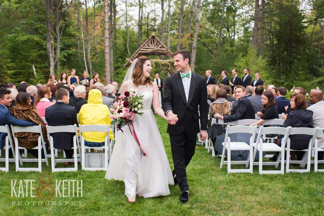 Bride and groom Hidden Pond outdoor wedding ceremony