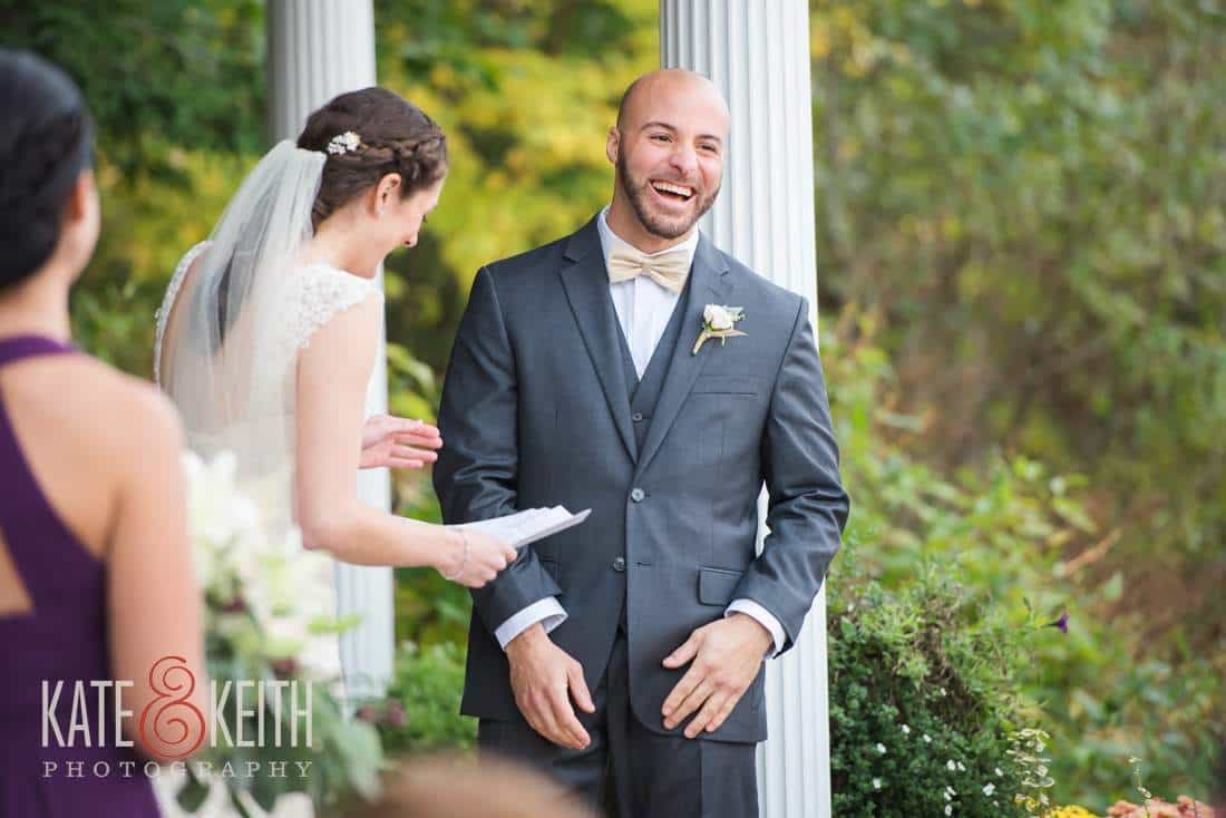 Happy groom during outdoor ceremony