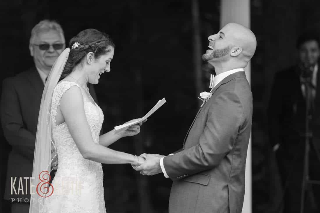 Bride reads vows, groom laughs
