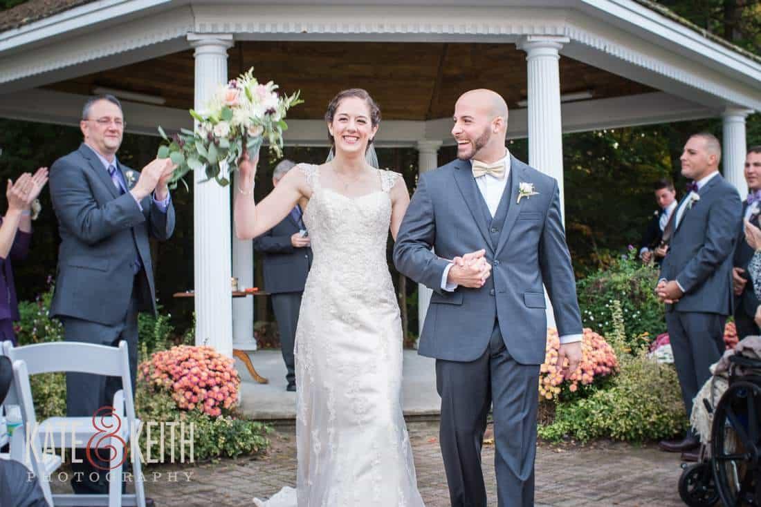 Happy Bride and Groom, outdoor wedding ceremony