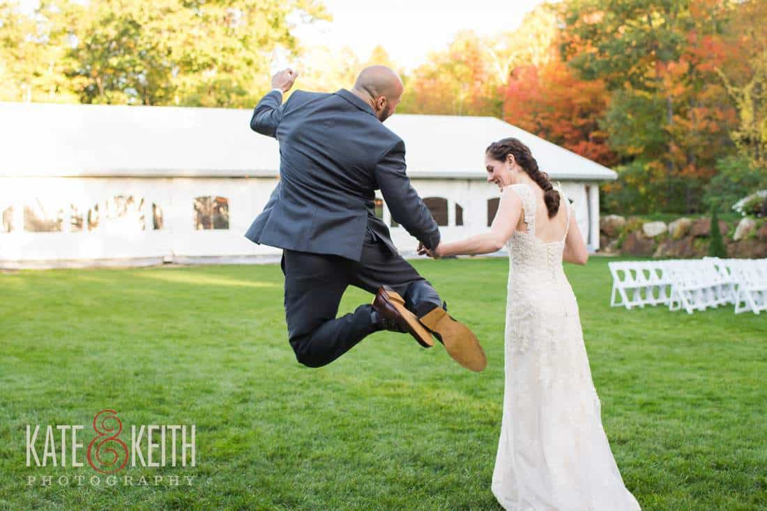 New Groom jumps for joy, performs heel click perfectly