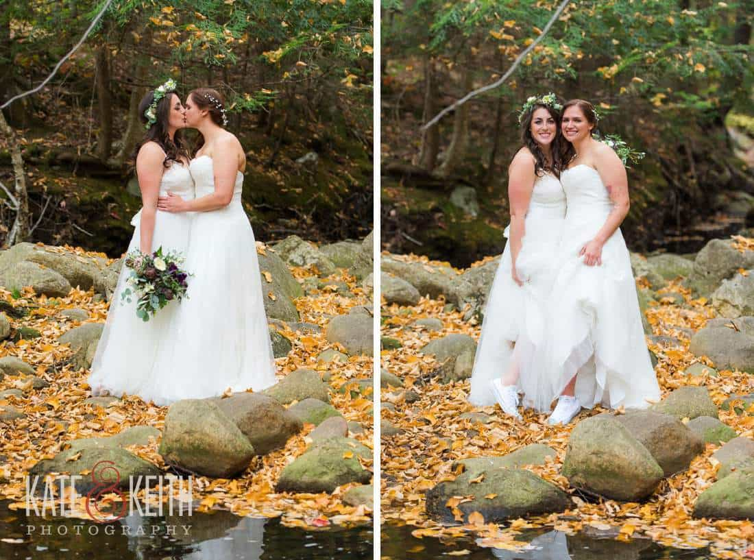 Lesbian Wedding First Look two Brides in Dresses