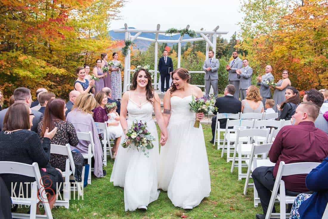 Two Brides Fall wedding New Hampshire White Mountains