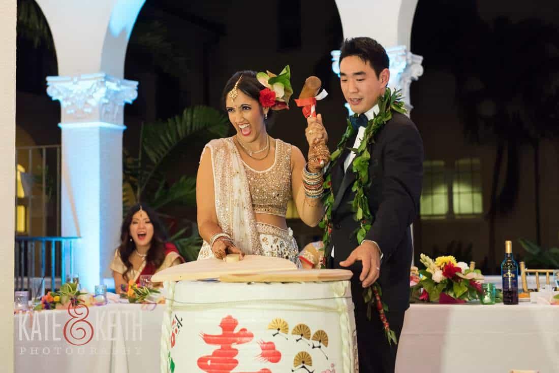 wedding breaking the barrel sake