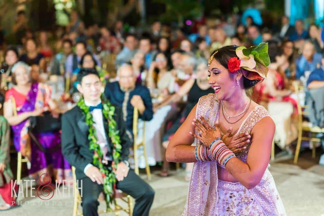 Bride dancing for groom