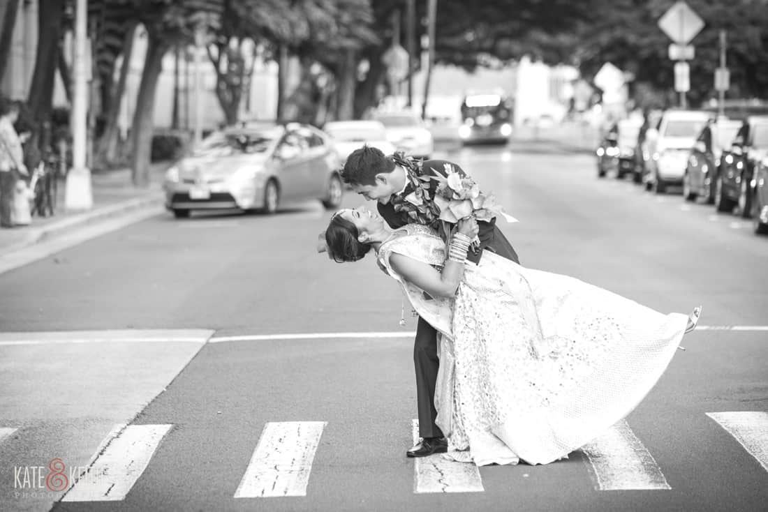 Honolulu wedding bride and groom in street