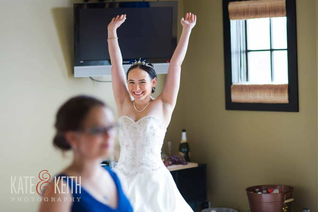 Happy candid photography bride