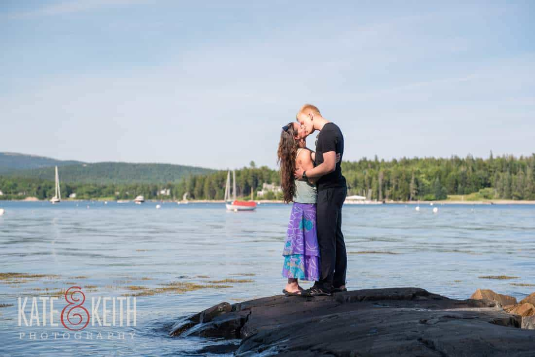 Couple Kissing on Rock in Maine