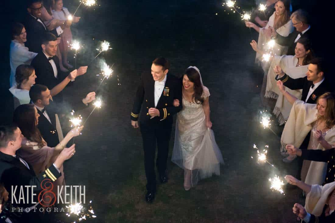 different view of sparkler exit wedding