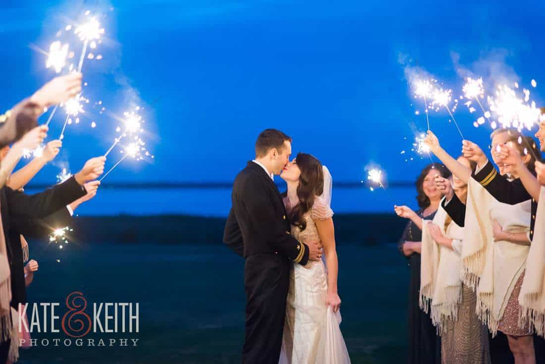 Blue Sky Sparkler exit wedding