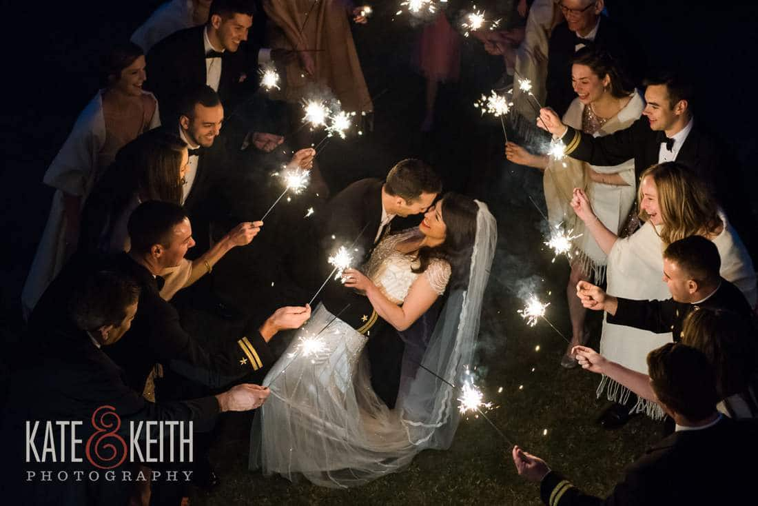 Sparkler wedding kiss