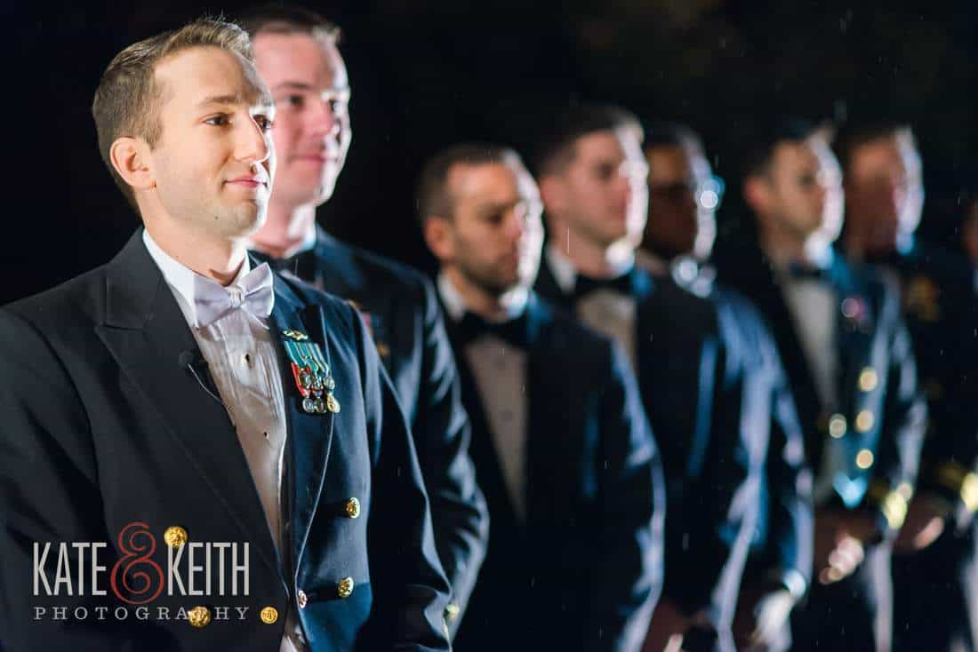 outdoor wedding navy groomsmen