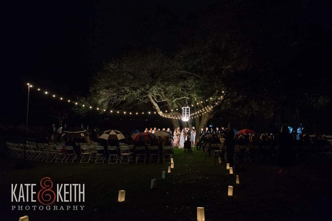 outdoor wedding under tree with lights