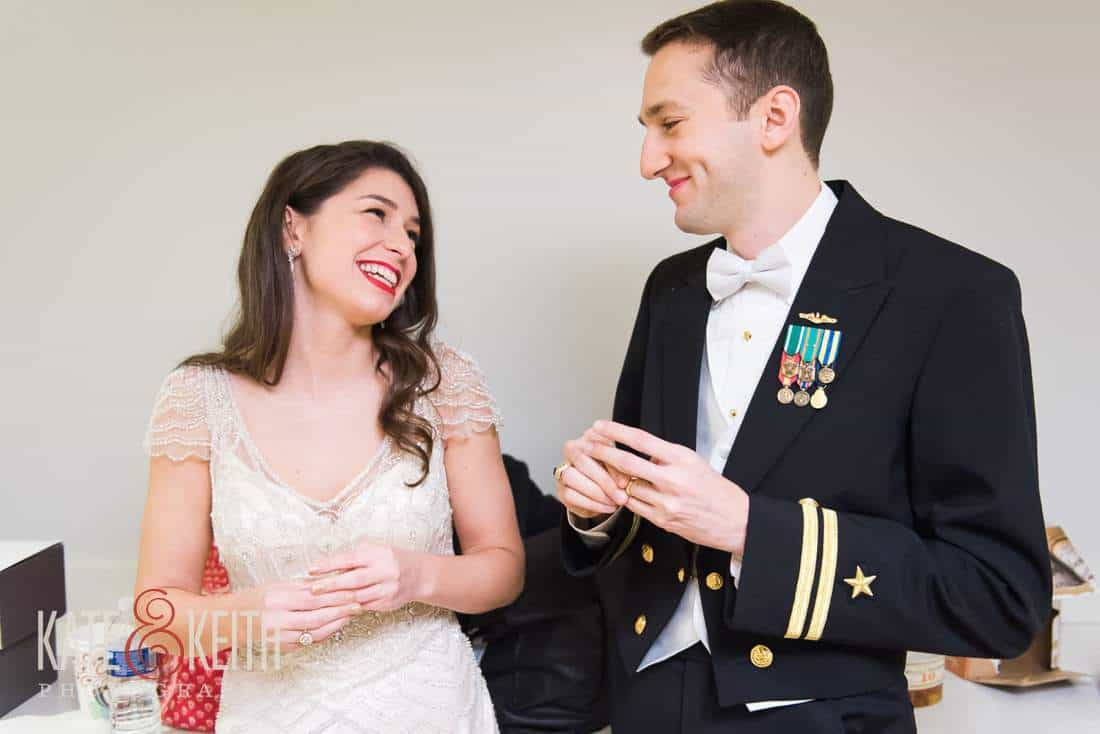 bride and navy groom