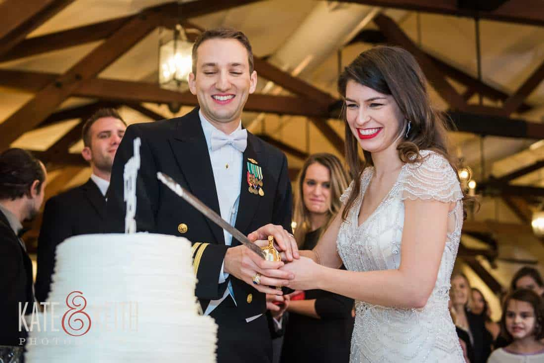 military sword cake cutting wedding