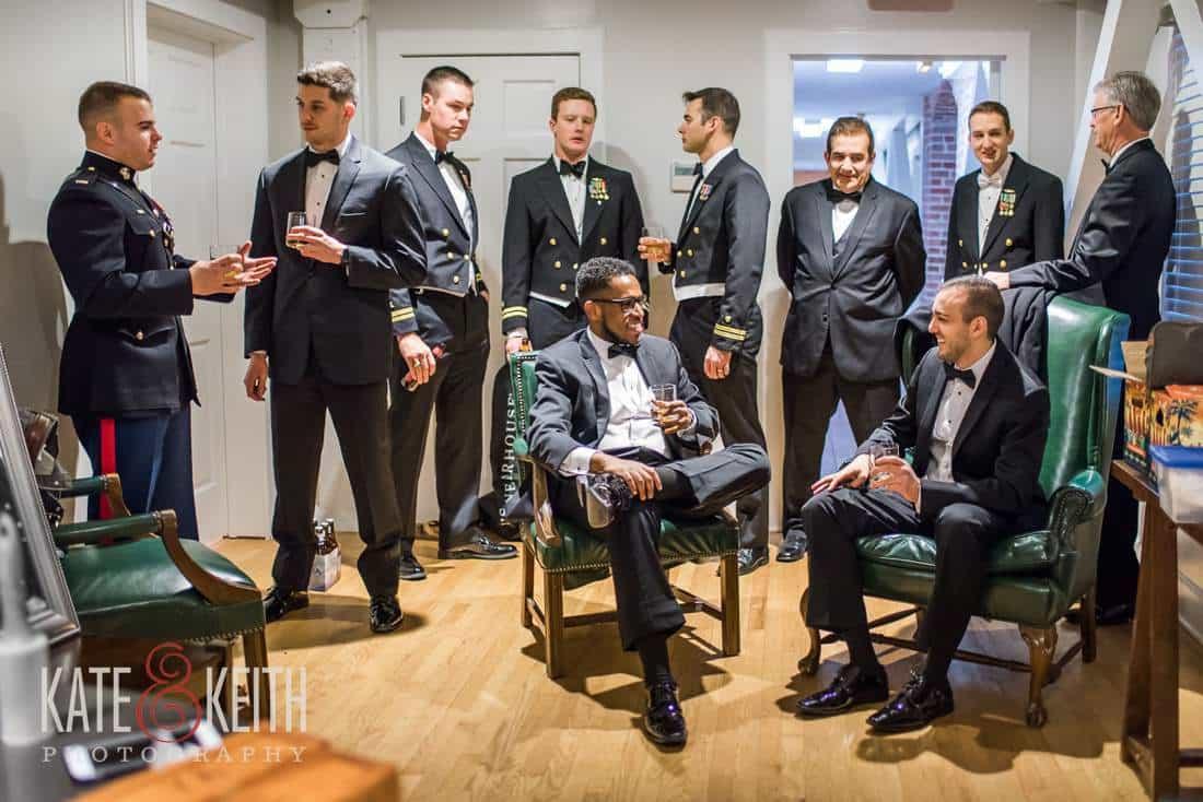 Casual posing groomsmen