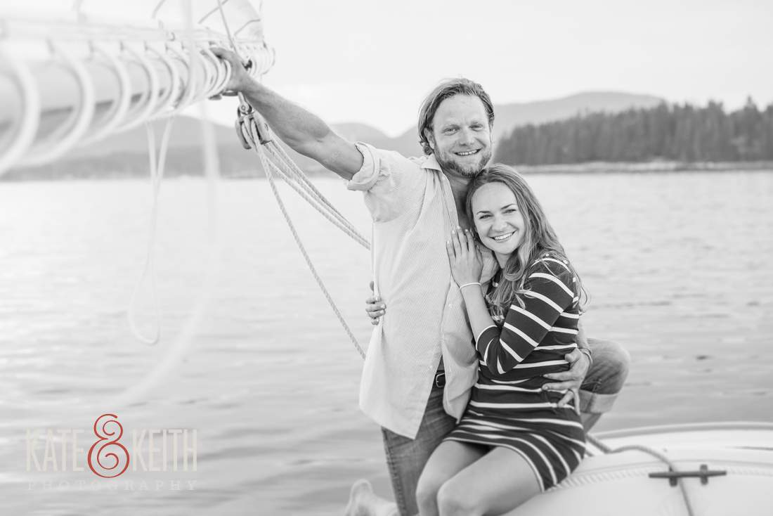 Black and White Sailing Engagement Photos