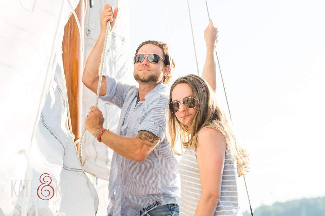 Maine Sailing Engagement Photos