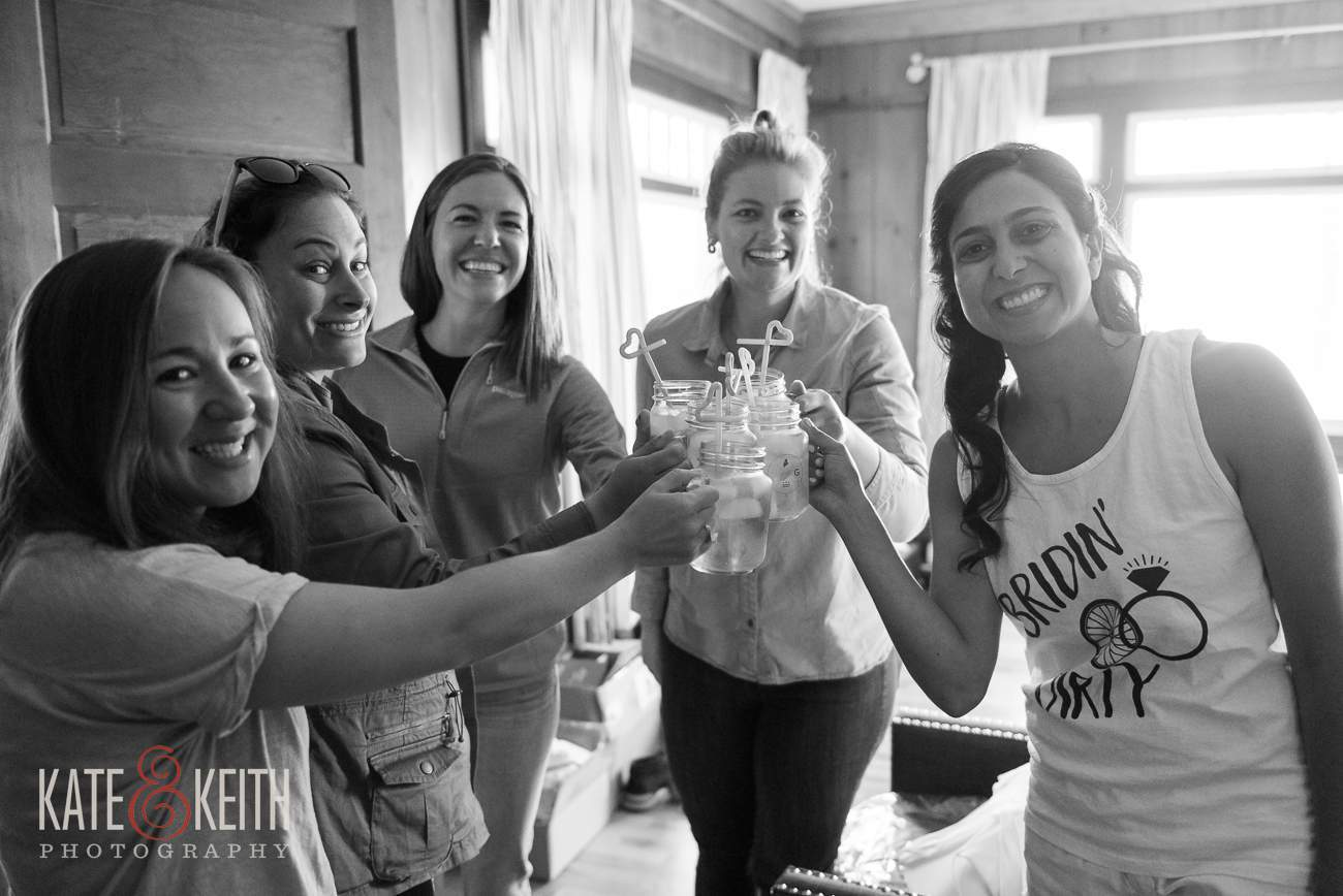 Bridal party prep time sippy straws