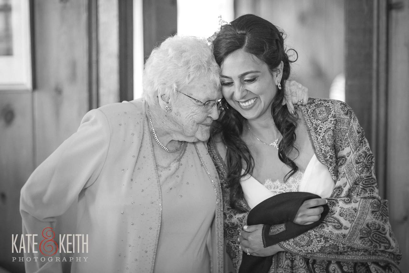 Wedding Moment between bride and grandmother