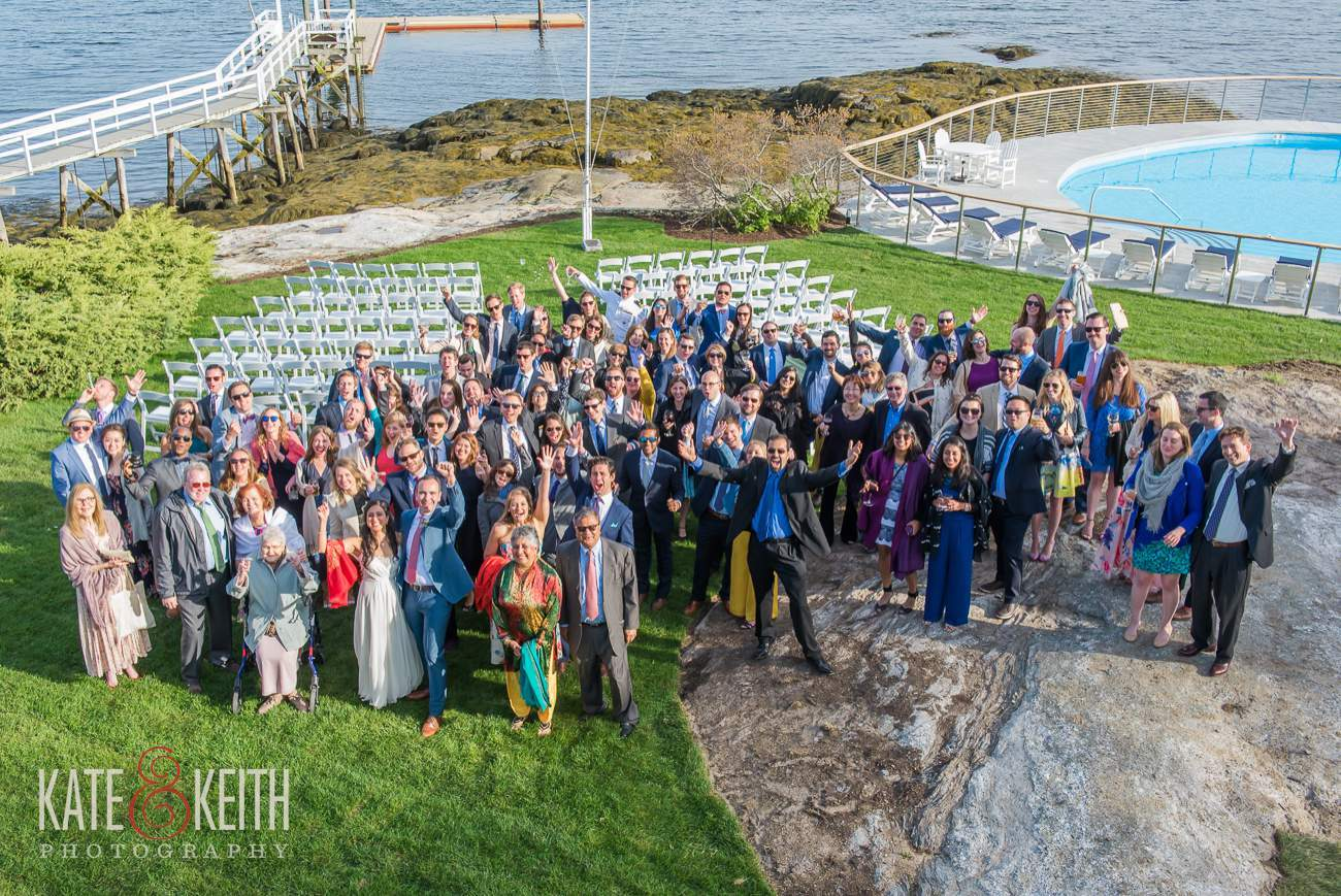 Giant Group Wedding Photo Bothbay Harbor