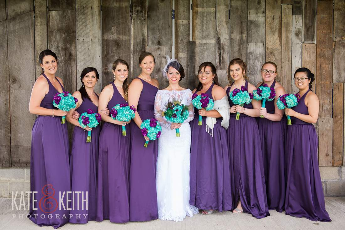Large bridal party barn wedding