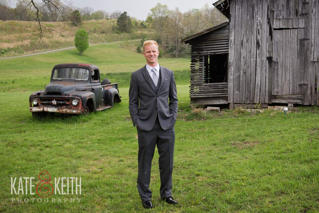 Formal groom barn wedding