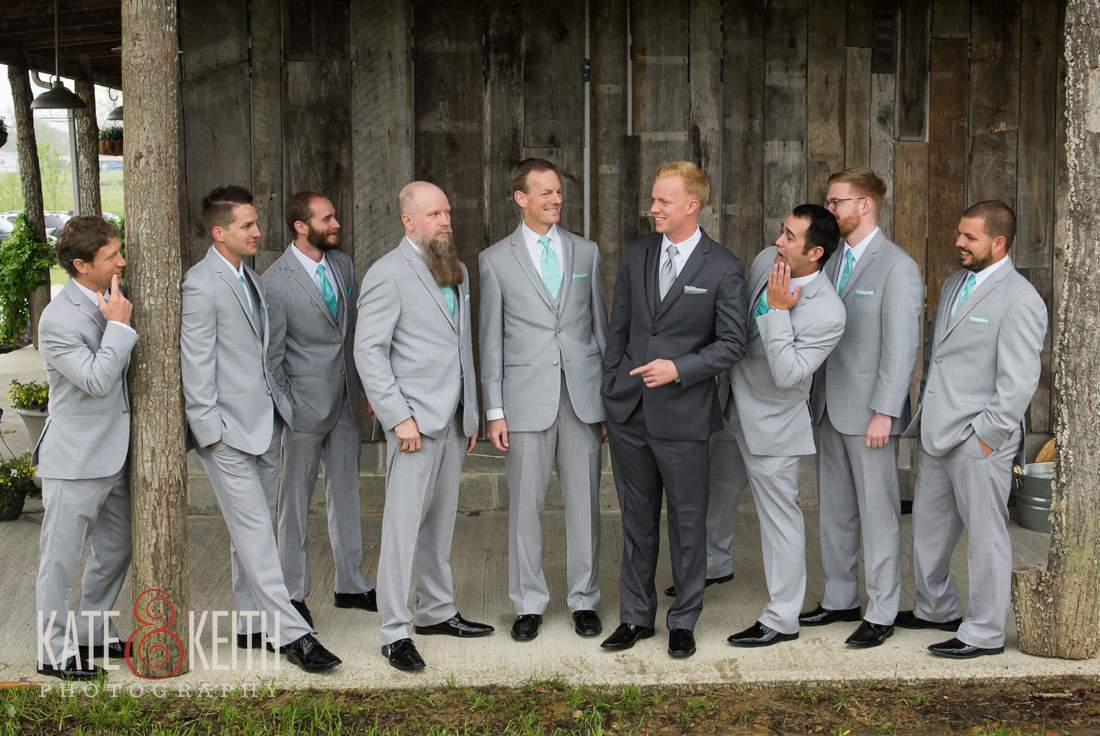Formal Groomsmen barn wedding