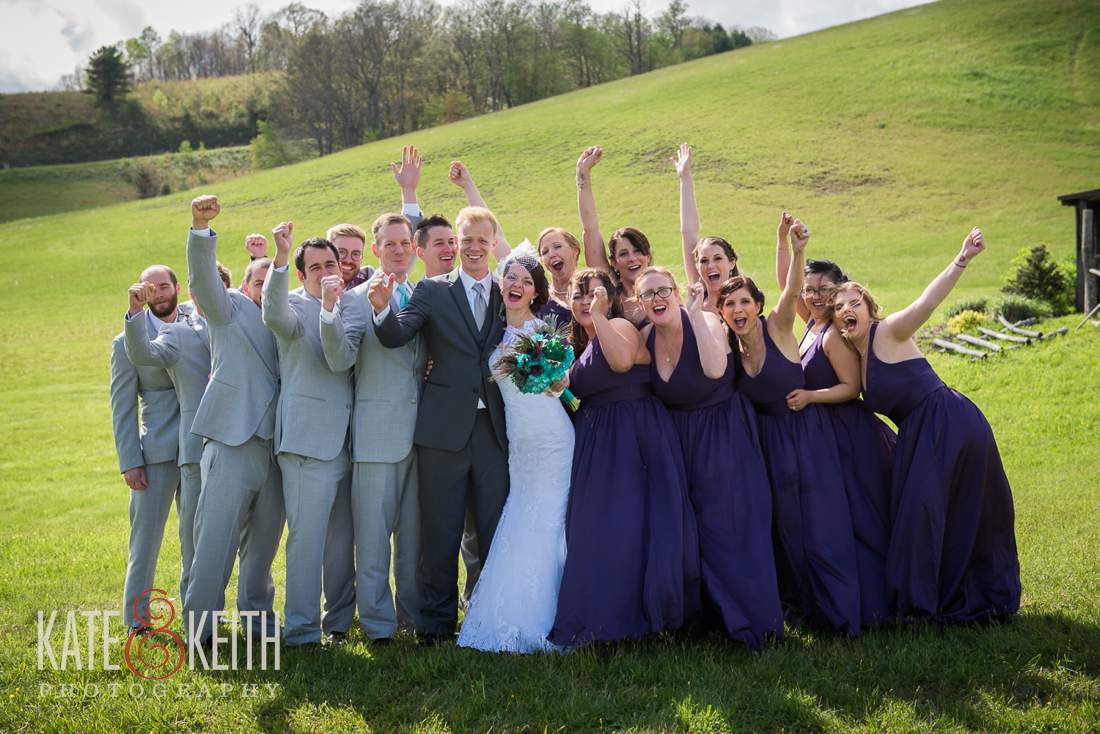 Large wedding party casual formal photo