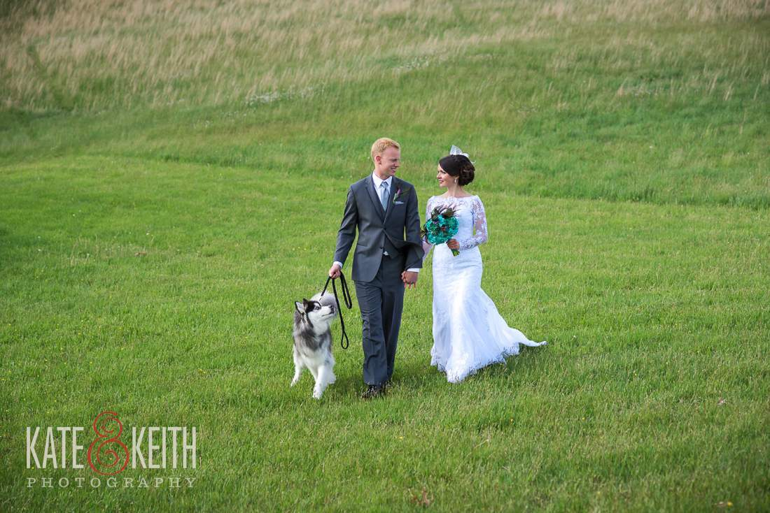 Bride Groom Walking with Dog
