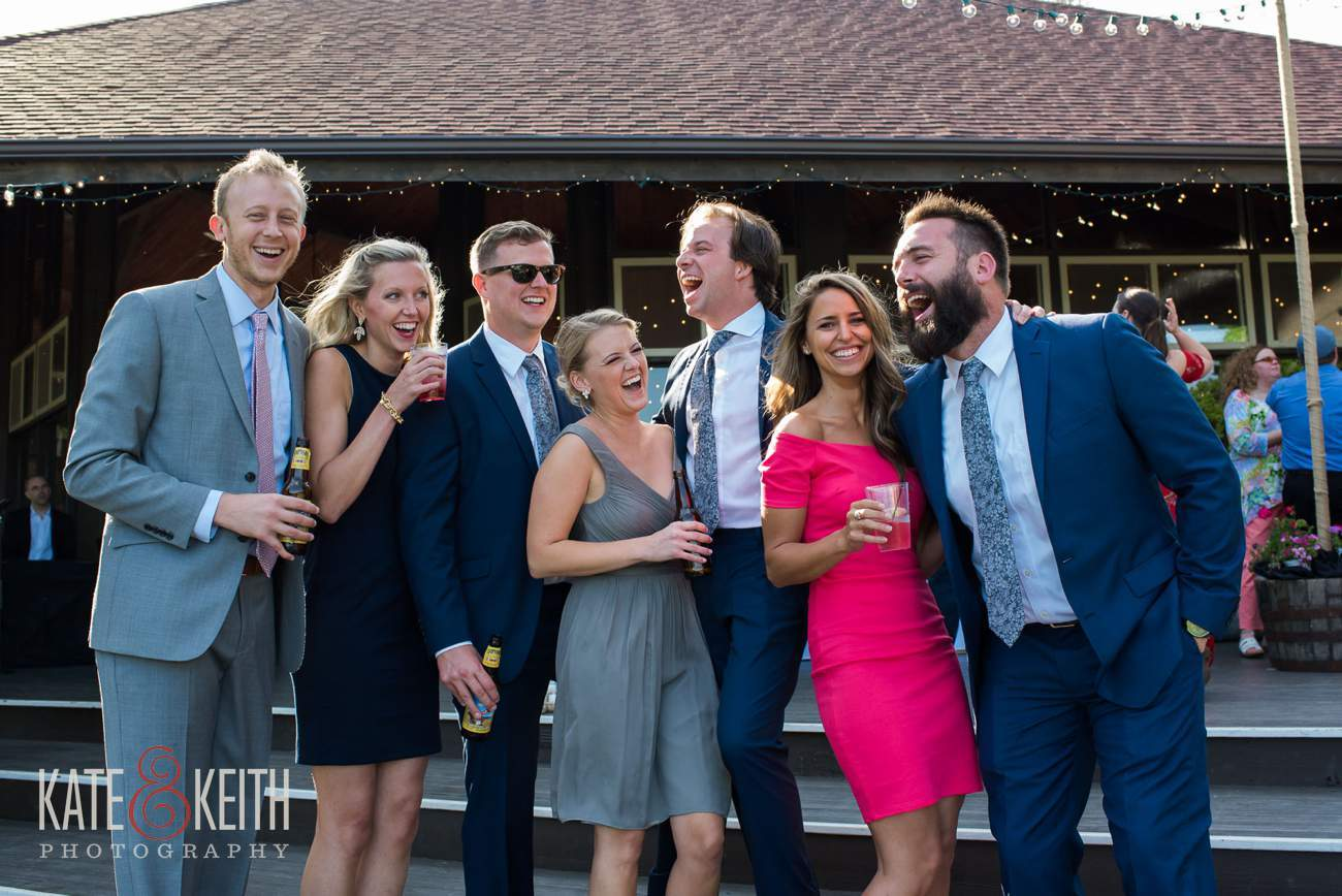 Candid group wedding photo