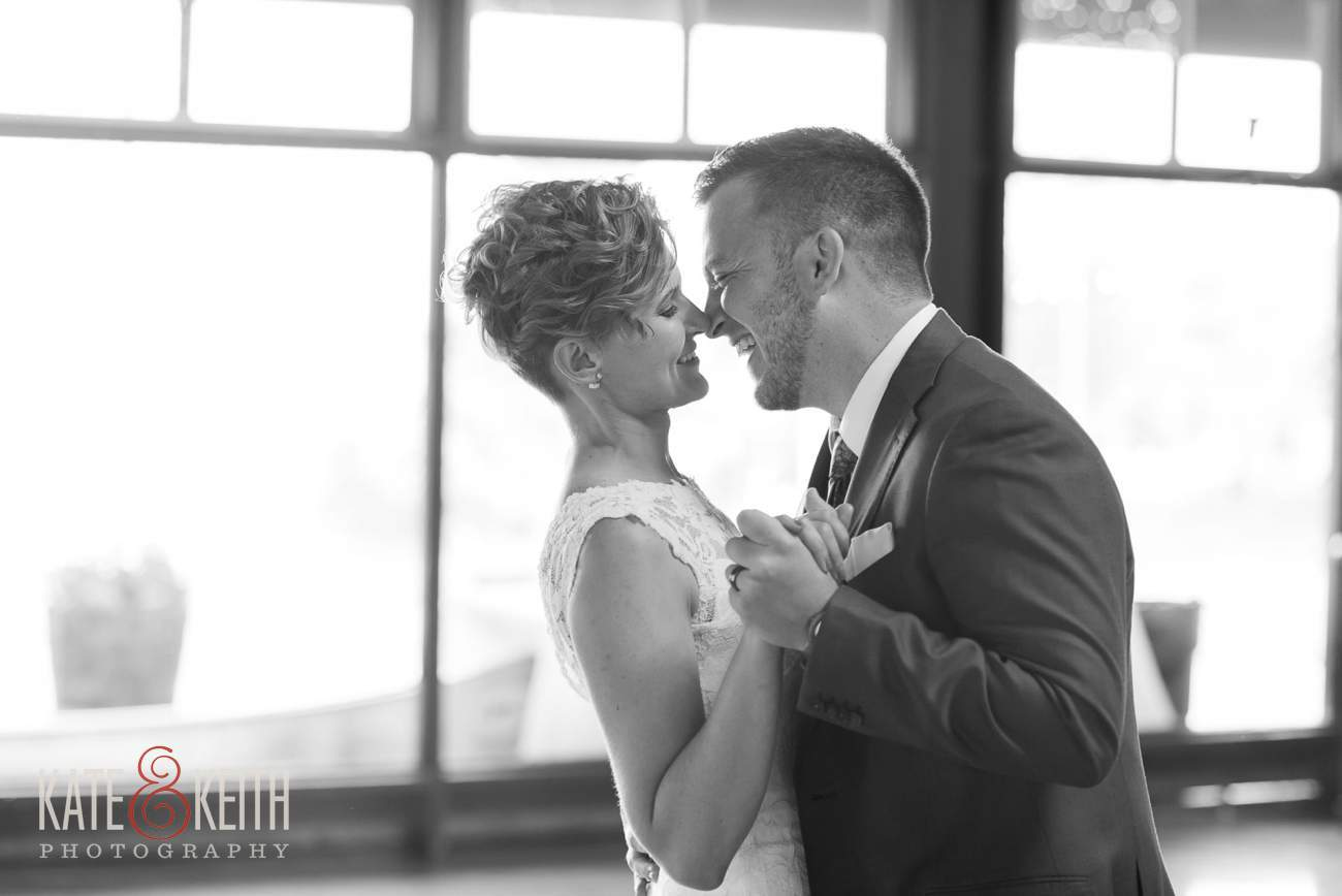 black and white wedding photo first dance