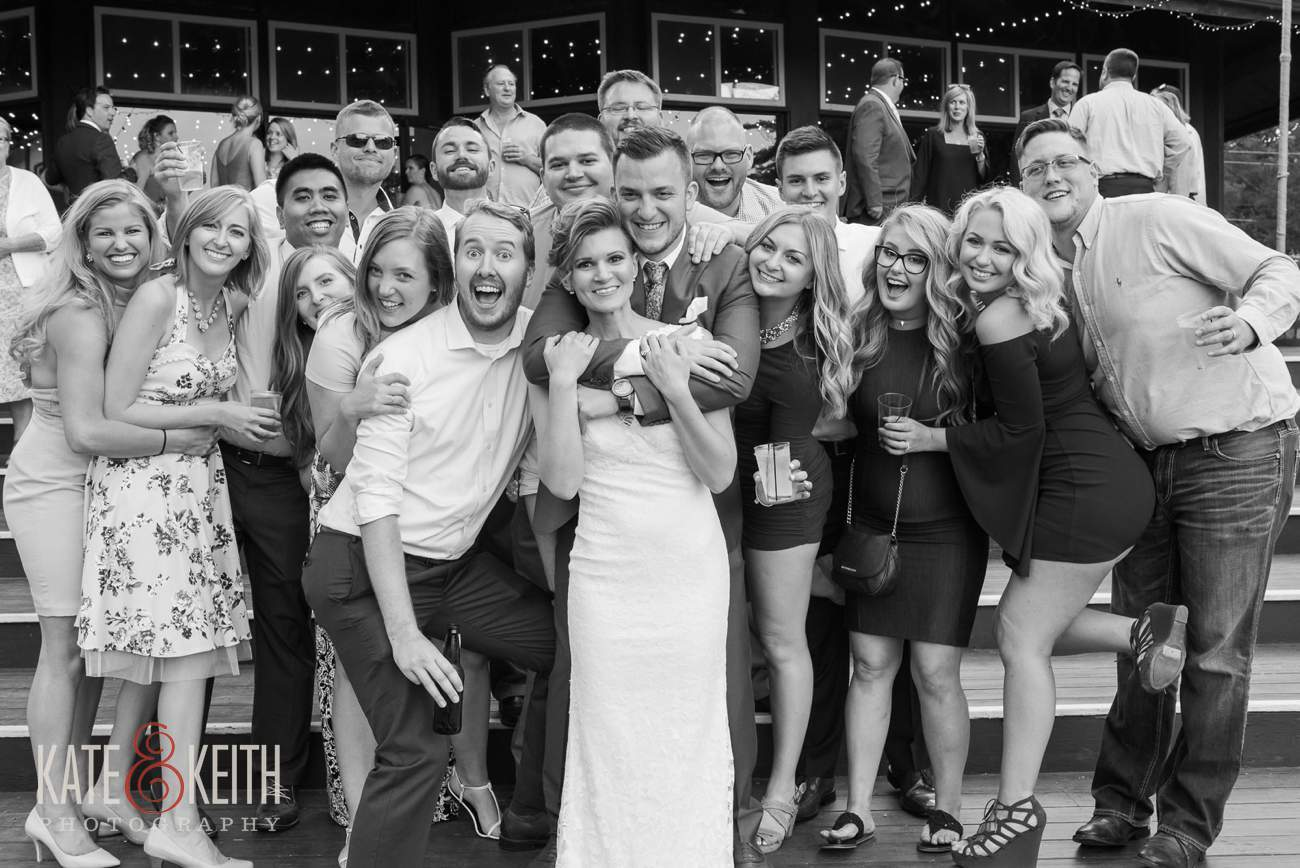Casual group wedding portrait photo