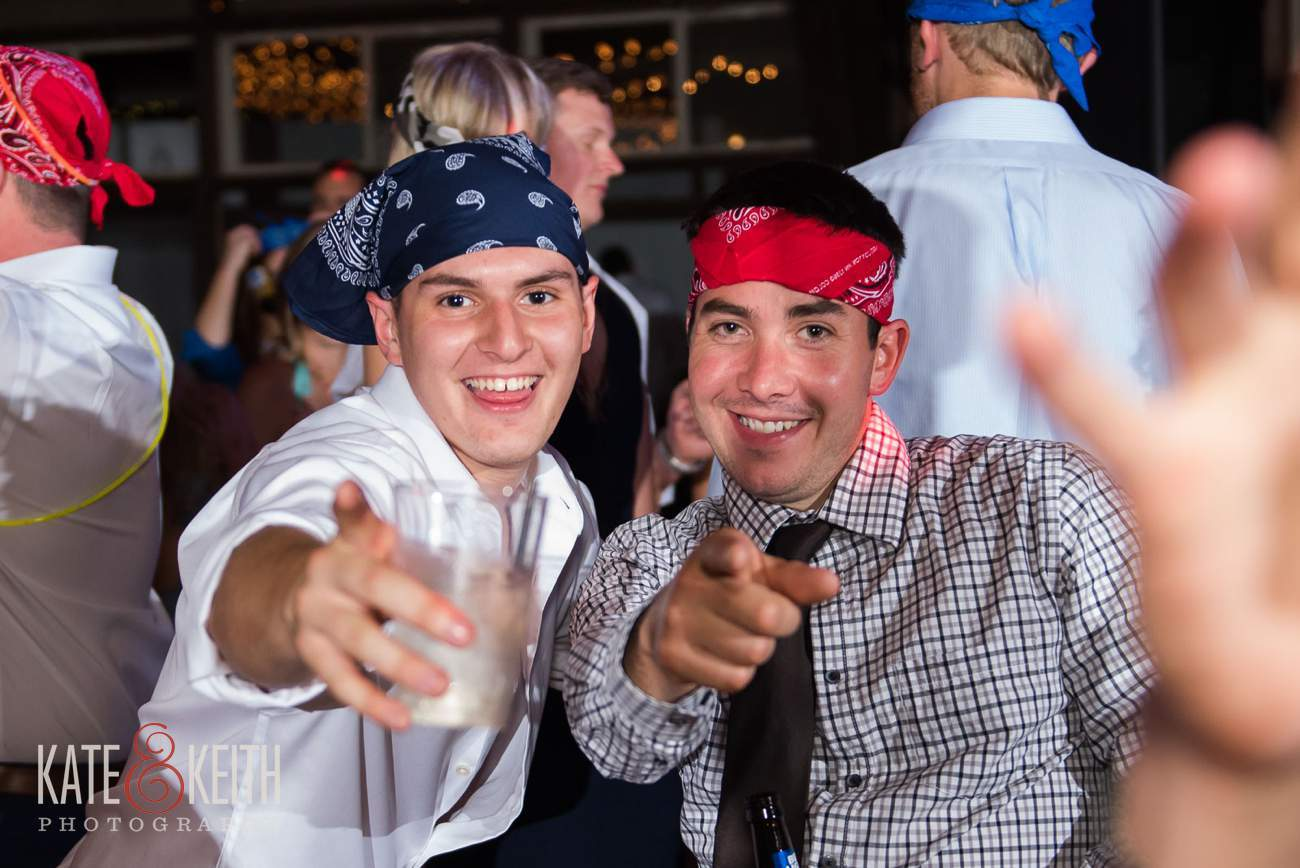wearing bandanas at wedding reception