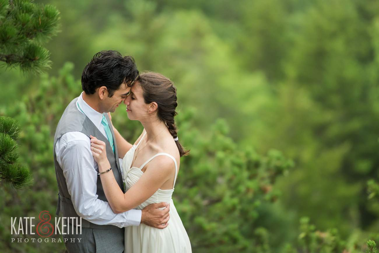 Bride and Groom Hiking Acadia National Park