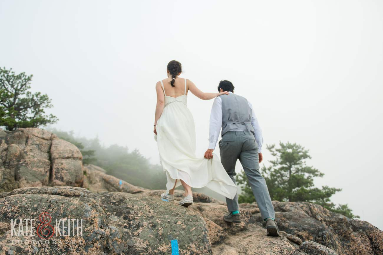 Bride and groom hiking wedding in Acadia National Park