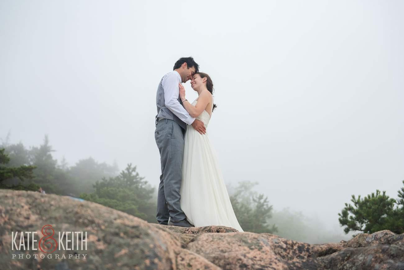 Bride and Groom on Mountain Wedding