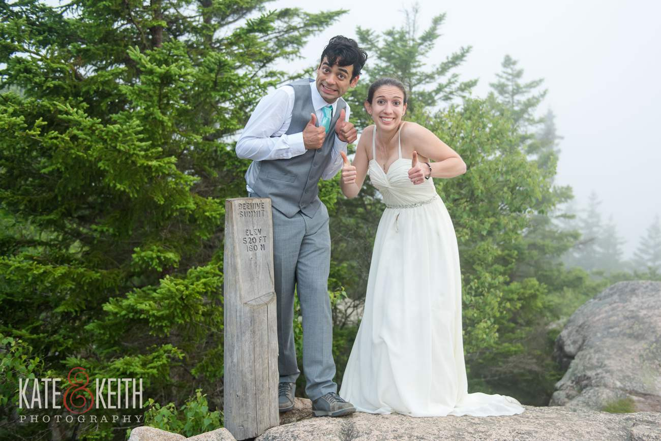 Bride and Groom Summit Beehive in Acadia National Park