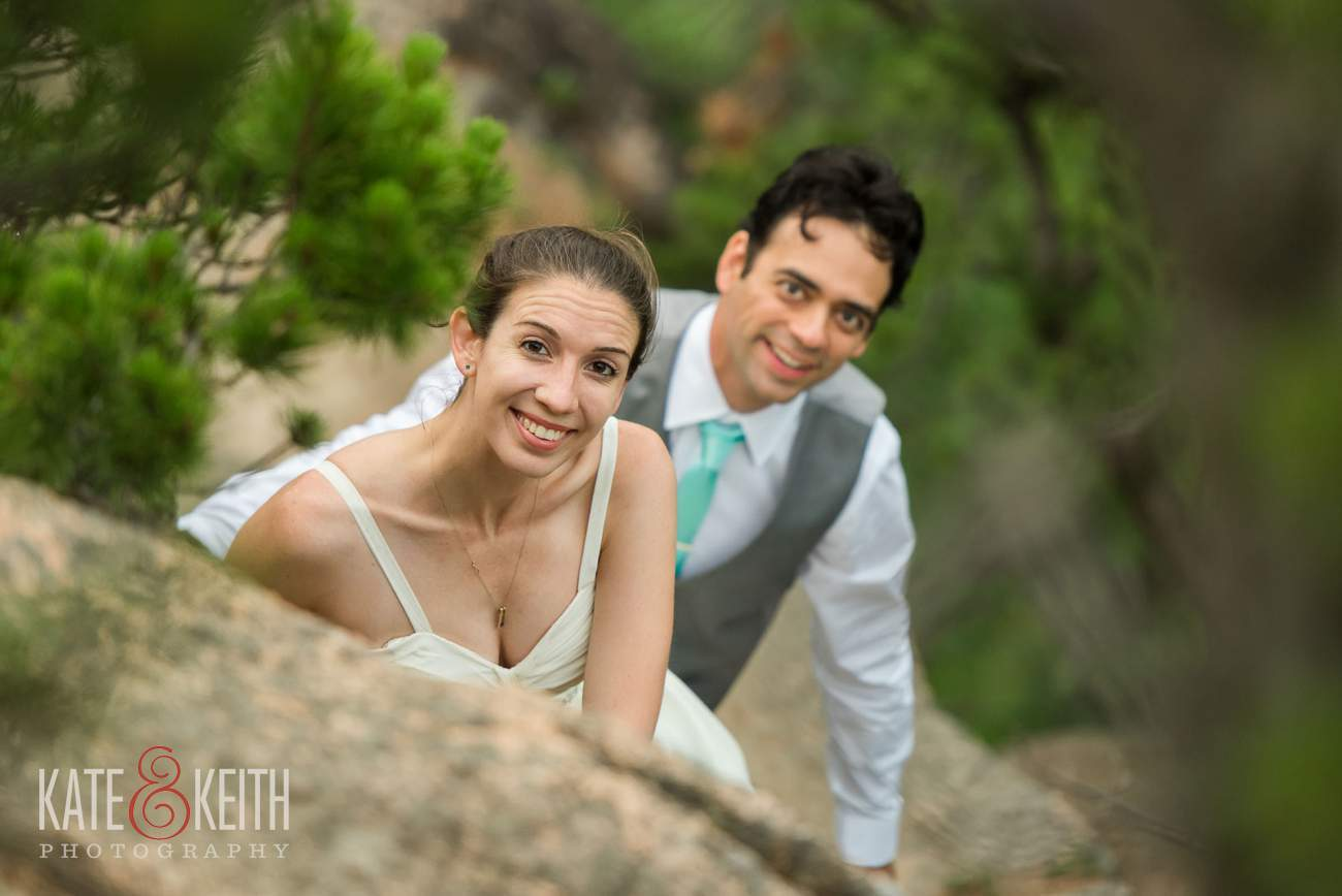 Acadia National Park Bride and Groom hiking