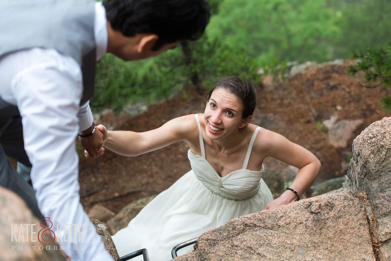 Outdoorsy bride rock climbing