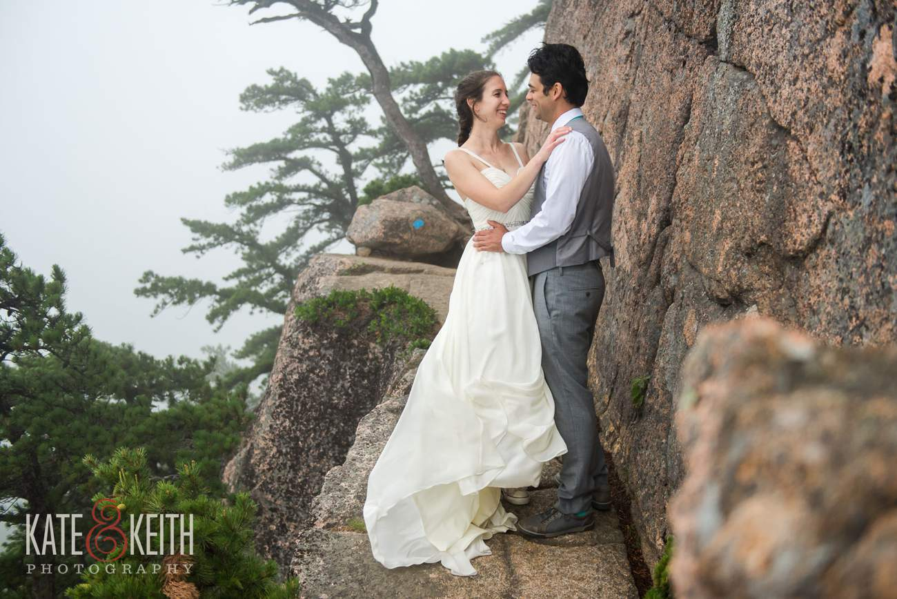 Bride and Groom on edge of cliff