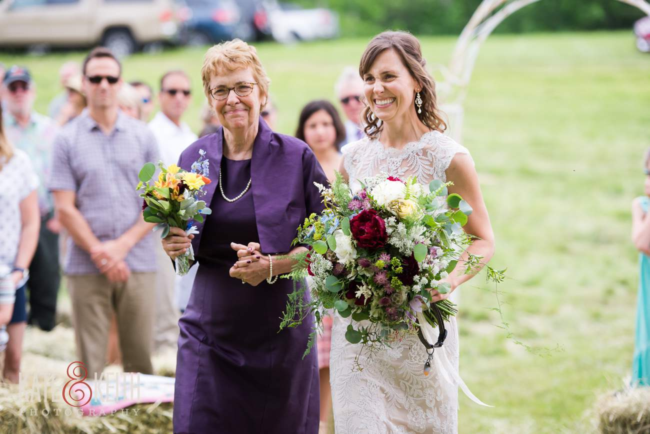 Mom walks bride down aisle