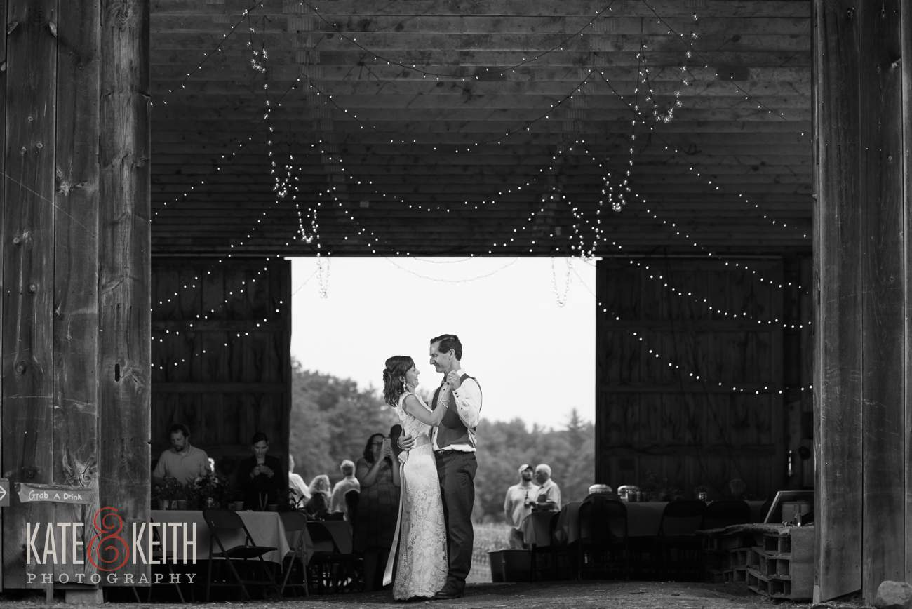 Bride Groom dancing in real barn