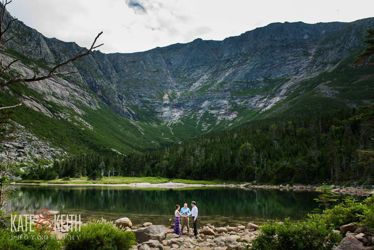 Baxter State Park Elopement wedding ceremony Chimney pond